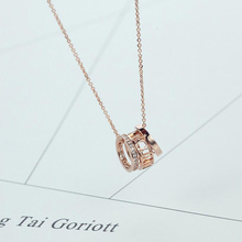 New Brand Rose Gold Color Necklace For Women Love Circle Crystal Circle Roman Numerals Double Circle Pendant Necklace Party