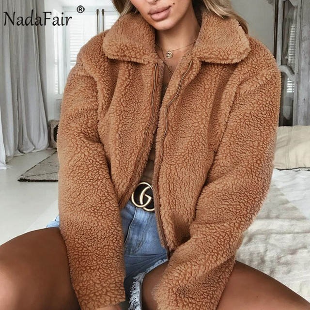 Nadafair Women Fleece Faux Fur Jacket Plus Size Thick Zipper Short Fluffy Winter Teddy Coat Female Casual Plush Overcoat
