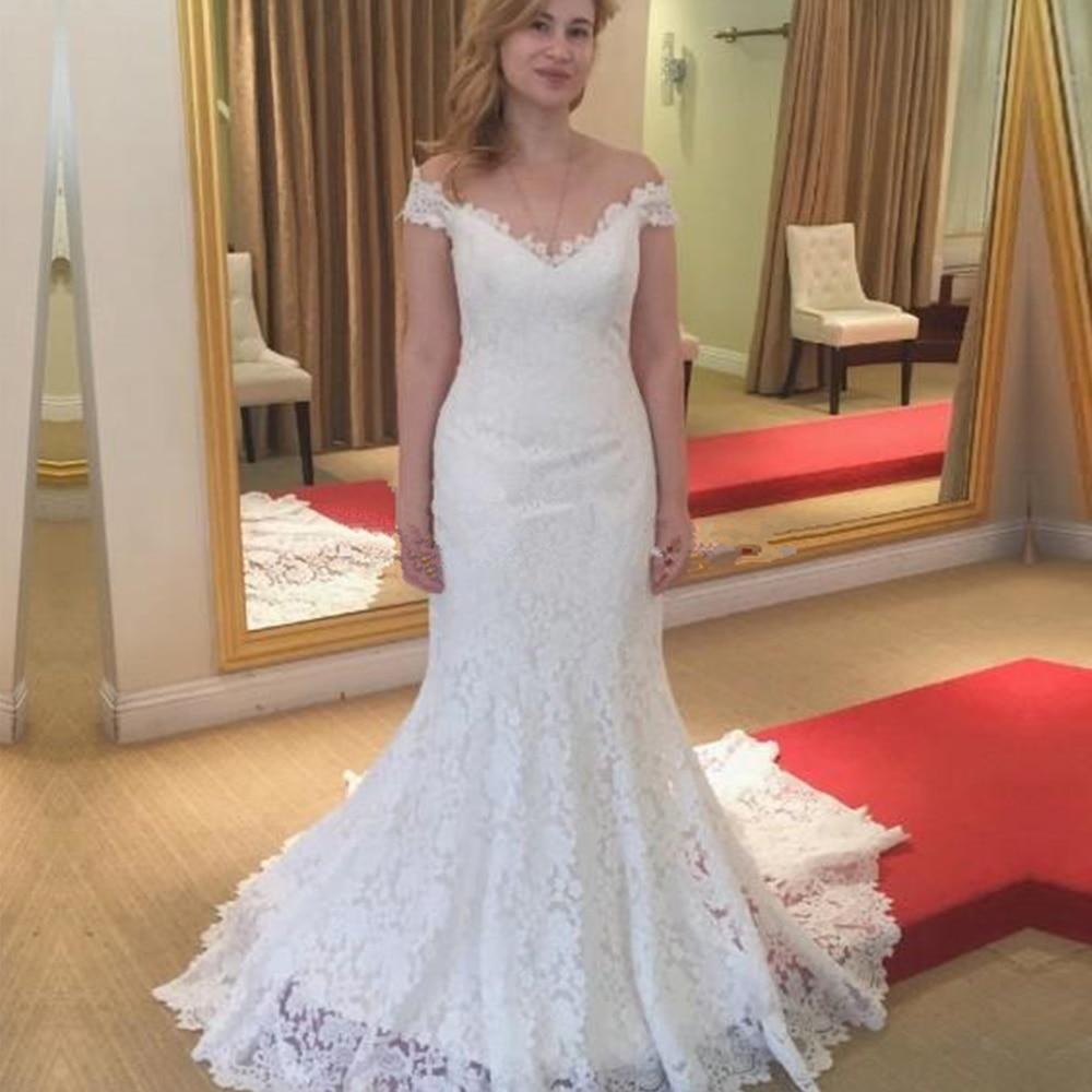 Boho Wedding Dress 2020 Appliques With Tulle Backless Mermaid Wedding Gowns Off The Shoulder Bridal Dress Vestido De Noiva
