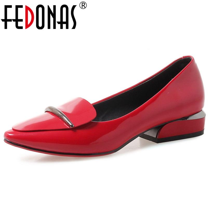 FEDONAS 2020 Spring Summer Fashion Pu Leather Female Shallow Basic Office Shoes Woman Elegant Women Pumps Party Wedding Shoes