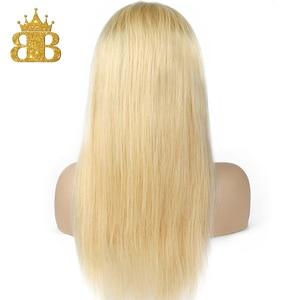 Image 5 - 옹 브르 613 금발 가발 T 레이스 전면 인간의 머리가 발 브라질 레미 스트레이트 헤어 투명 레이스가 발 턱 받이 머리 130% 밀도