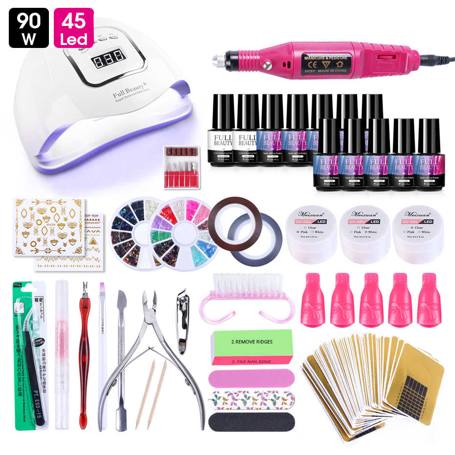 Acryl Gel Nail Set Met Uv Led Lamp Professionele Nagels Art Extention Gel Varnish Strass Manicure Gereedschap Accessoires LY1581