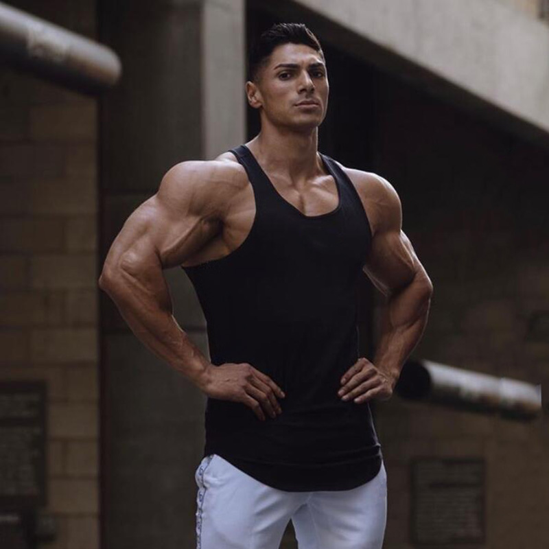 New Plain Cotton Bodybuilding Sleeveless Shirts Gym Tank Top Men Fitness Tops Mens Singlets Street Workout Vest Fitness Clothes
