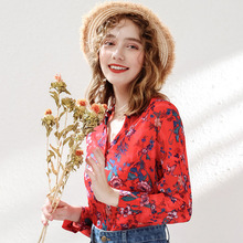Wasteheart Autumn Women Tops Casual Red T-shirts Solid Shirt V Neck Cotton Sexy Tees Floral Chiffon Blouse