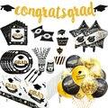 1 комплект воздушные шары на выпускной одноразовая посуда 2021 Выпускной вечерние украшения Поздравляю Град Бумага гирлянда баннер класса 2021