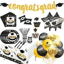 Juego de globos desechables para graduación, vajilla de 2021 adornos para fiesta de graduación, guirnaldas de papel, Pancarta, clase 2021, 1 Juego