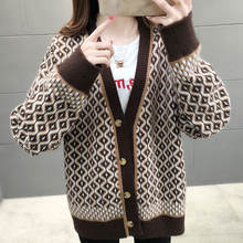 Новый ромб клетчатый вязаный кардиган свитер женские универсальное