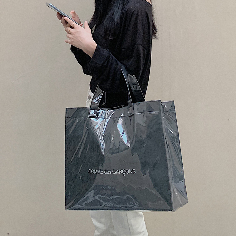 Large Bag Female Kawakubo Rei CDG With Large Capacity Black Kraft Paper PVC Shopping Bag Tote Bag Handbag