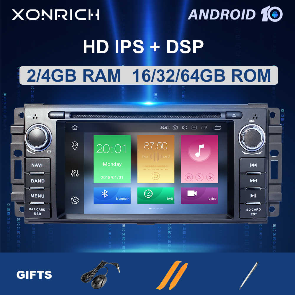 1Din Android 10Car Multimedia para Jeep Grand Chrysler Cherokee 300C brújula patriota Dodge Sebring Radio Unidad de navegación GPS