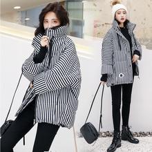 Women Down Jacket Winter Parka Temperament Striped Stand Puffer Jacket coats 2019 Fashion Brand Cotton Padded Jacket WomenAA-514