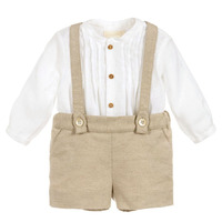 Toddler Boys Prince Clothes Set Spansih Baby Clothing Suit Infant White Cotton Long Sleeve Shirt Overall Pants Birthday Outfits