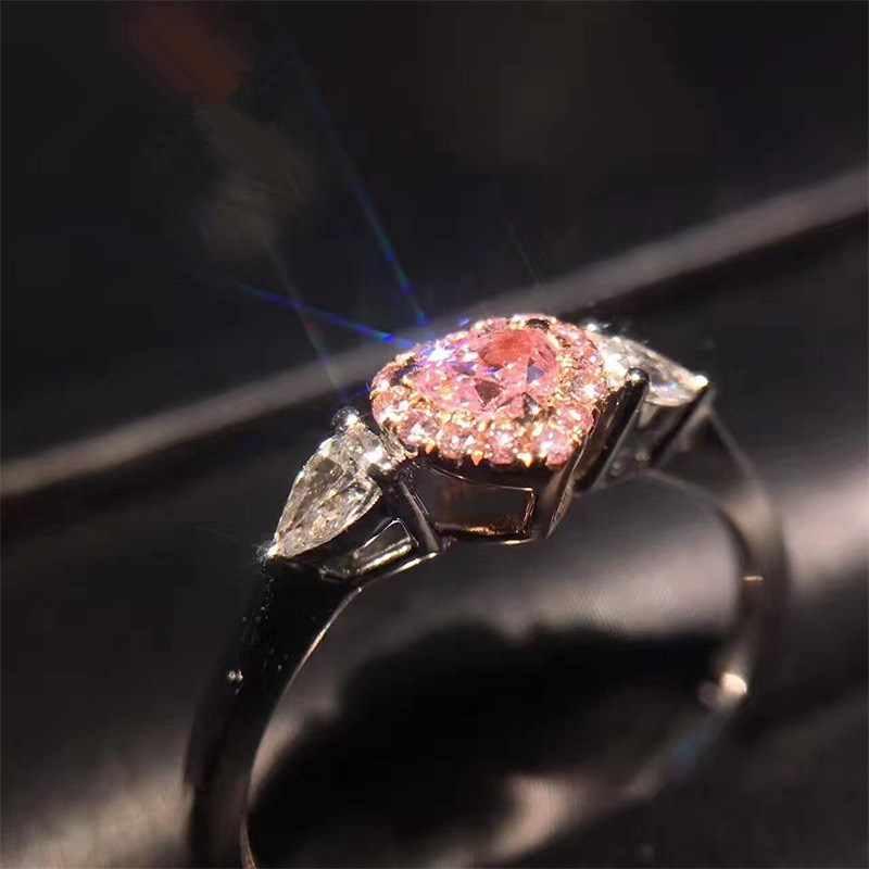 אפרסק לב סימולציה כנפי מלאך ורוד AAA CZ Zirconia אהבת לב חתונת תכשיטי טבעות נשים טבעת גודל גודל 5to10