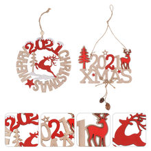 2Pcs Xmas Wooden Pendants Festive Fun Exquisite Hanging Adornments Hanging Ornaments for Cafe Bar Party(China)