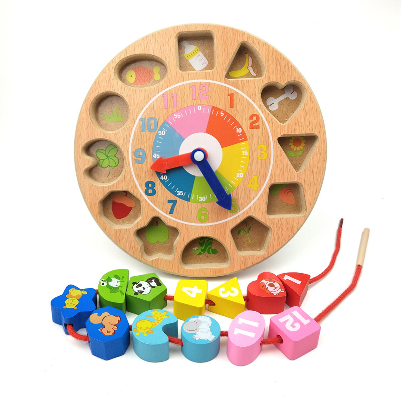 CHILDREN'S Building Blocks Training Clock Fine Motion Beaded Bracelet Baby Girl Have Unisex Wear Rope Baby Toy 1-2-3-Year-Old