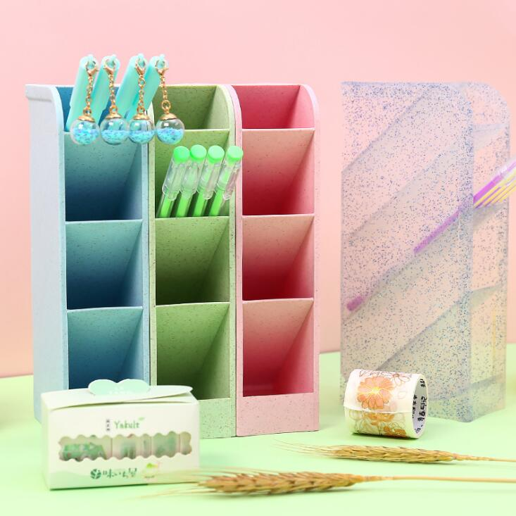 2020 Creative Large Capacity Cute Plastic Pencil Holder Desk Organizer Storage Box Kawaii Penholder School Office Stationery