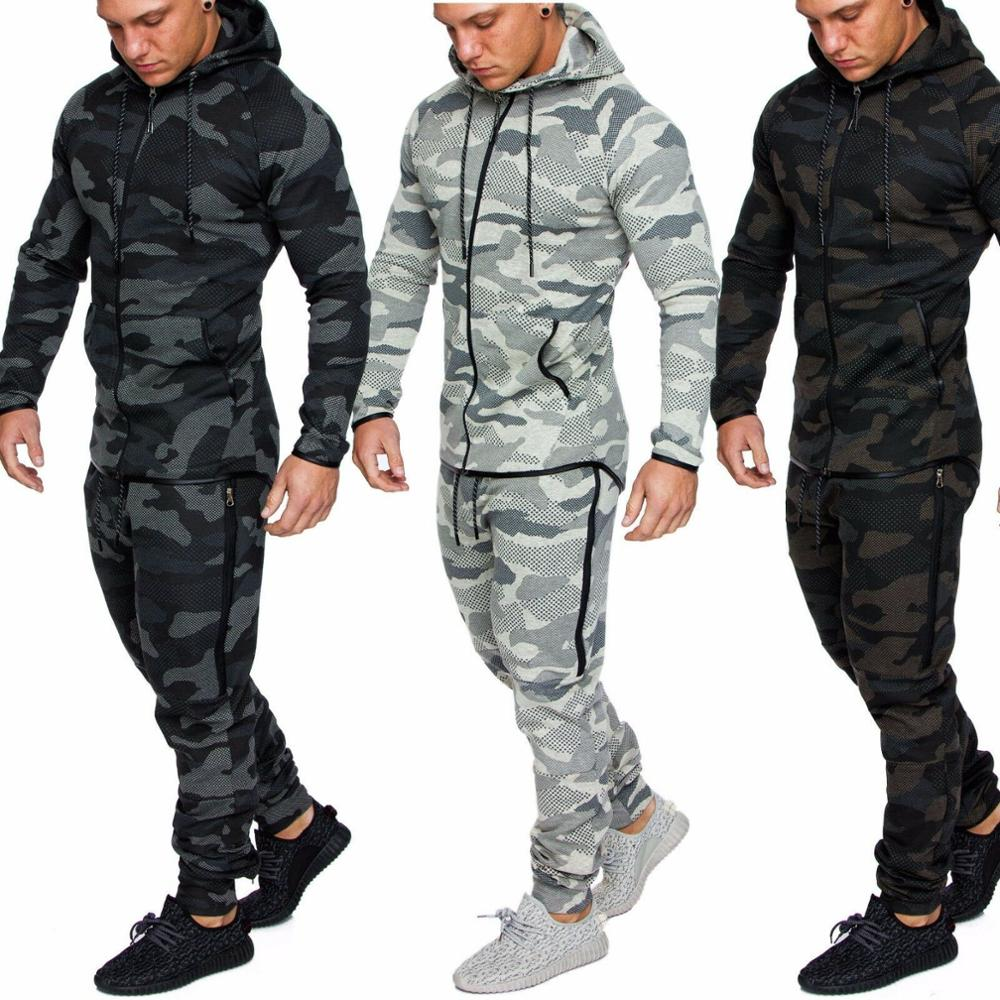 New Men's Casual Suit Fashion Camouflage Sports Fitness Cotton Zipper Cardigan Hoodie Suit Male Outdoor Sports 2 Piece Set