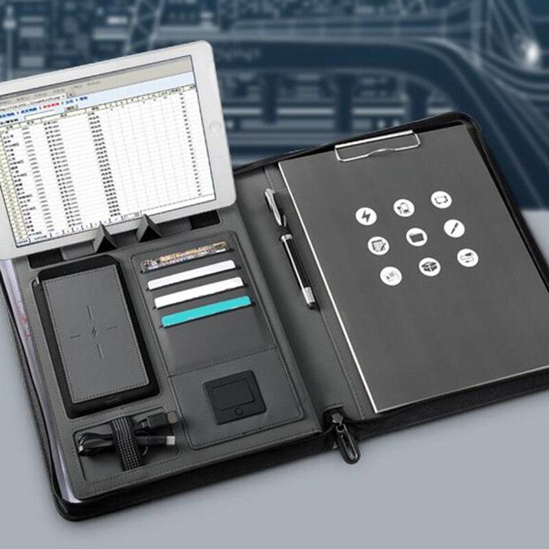 Tendances A4 taille carnet de voyage Composition livre Business Manager sac dossier avec chargeur d'alimentation sans fil support de sac Mobile