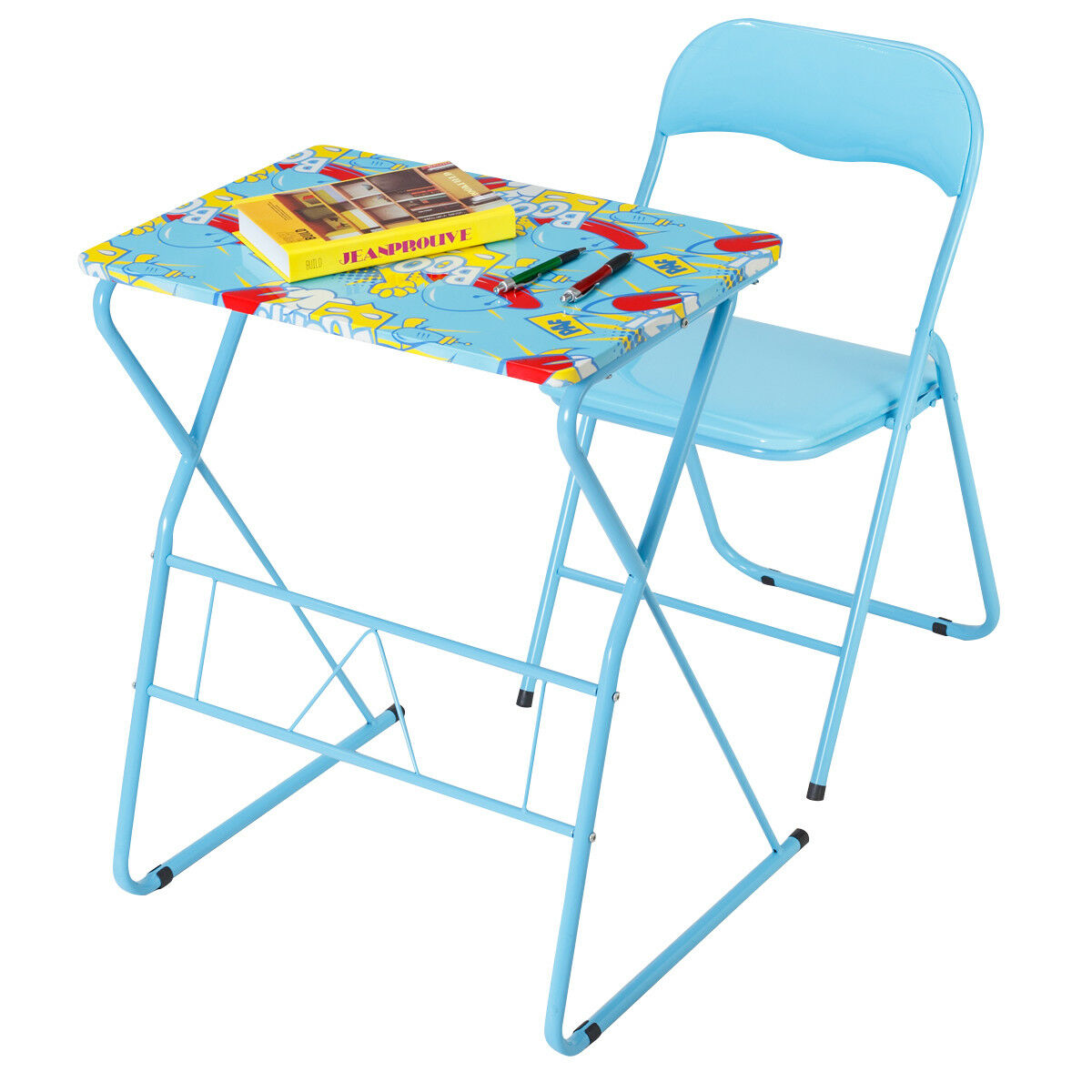 Kids Studying Table Chair Set Foldable Classroom Home Writing Playing Desk
