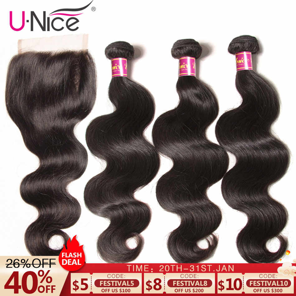 "UNICE Hair Brazilian Weaving With Wavy Closure 100% Human Hair Color 3 Bundles With Closure 8-30"" Shine Body Wave Remy Hair Mi"