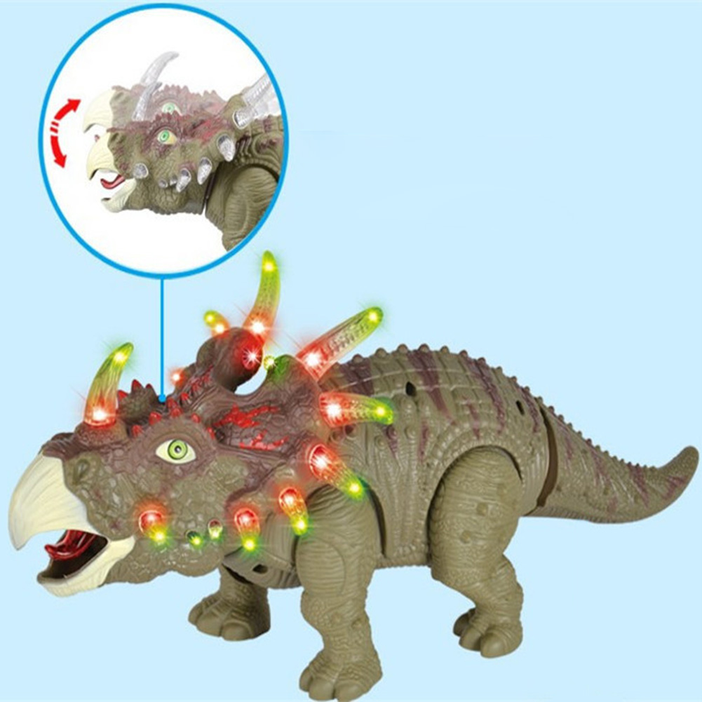Lights Real Movement Kids Games Gift Sounds Dinosaur Toy Triceratops Model Walking Electric Dragon Interactive Plastic Figure