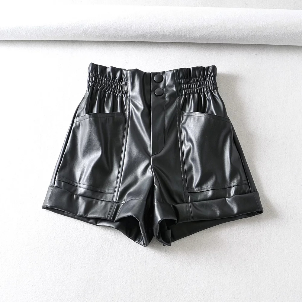 H05af4c14640a402dae4b5eba4deff558k - Womens zora PU Shorts elastic waist Female pockets loose Shorts faux leather basic solid short Pant faux leather za Short