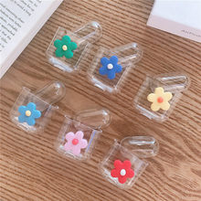Flower Luxury Accessories Case for Airpods 1 2 Clear Bluetooth Headset Earphone Transparent Hard Case White Skin Bag Cover(China)