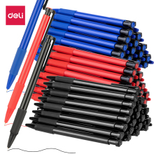 Deli 1PCS 0.7mm Black/Blue/Red Press Ballpoint Oil Pen Plastic Gel Neutral Multi-function Press Ballpoint Pen School Stationery japanese pilot lkfb 80ef multi function four color red blue black and green erasable pen gel pen multi function pen 1pcs lot