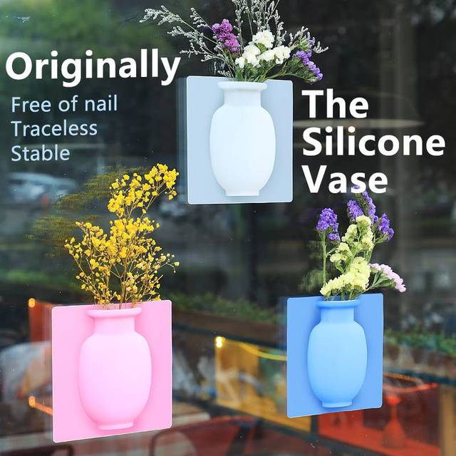 Silicone Sticky Vase Easy Removable Wall And Fridge Magic Flower Plant Vases DIY Home Decoration Glass Mirror Decor 2