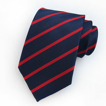 цена на Mans Neck Tie Red Navy Blue Striped Silk Tie for Man 8cm Gingham Ties Formal Business Gravata Casual Wedding Party Tie