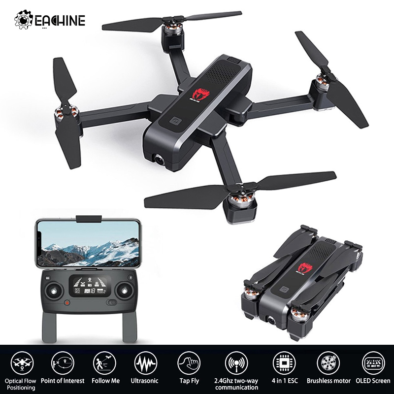 Eachine ex3 gps 5g wifi fpv 2 k câmera de fluxo óptico oled comutável remoto sem escova dobrável rc zangão quadcopter rtf