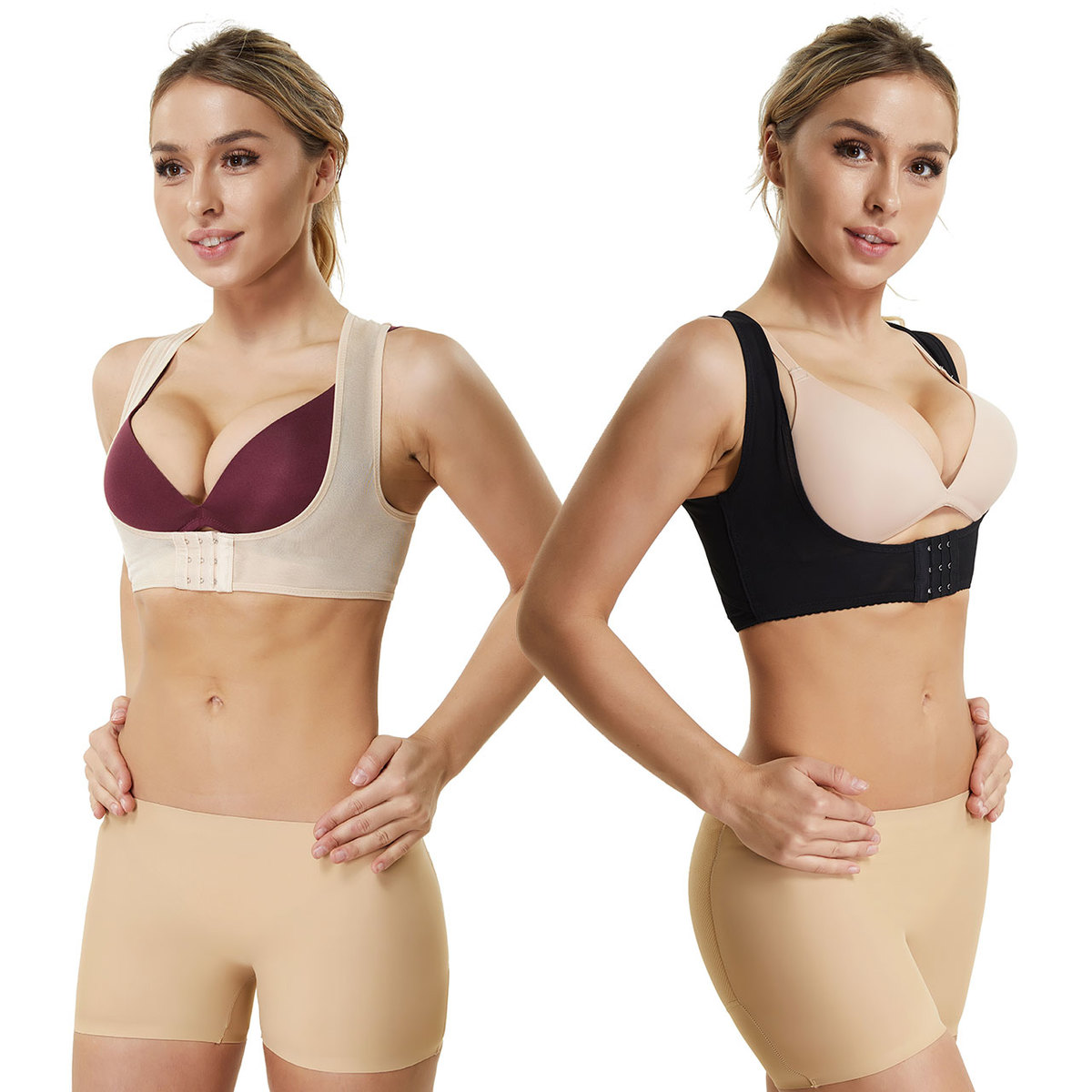 Joyshaper Chest Brace Up for Women Posture Corrector Shapewear Tops Breast Support Bra Top X Strap Bras Black, Large