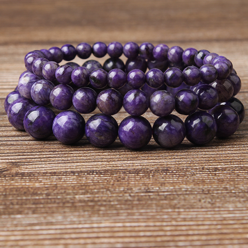 LanLi fashion jewelry 6/8/10mm Charoite stones loose beads Bracelet Charms Yoga Women meditation amulet