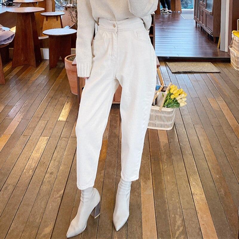 Harem Jeans | High Waist Loose White Denim Jeans  3