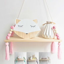 Nordic Nursery & Kids Decor Kwasten Opslag Plank Rek Muur Opknoping Hout Speelgoed Model Baby Kid Kamer Furnish Artic Thuis decoratie(China)