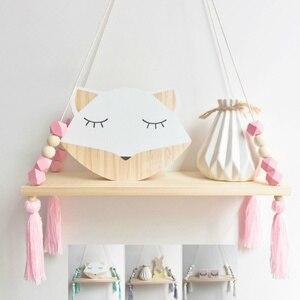 Nordic Nursery & Kids Decor Tassels Storage Shelf Rack Wall Hanging Wood Toys Model Baby Kid Room Furnish Artic Home Decoration(China)