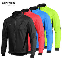 ARSUXEO Fleece Cycling Jacket Man Winter Thermal Mountain Bike Jacket Waterproof Bicycle Coat Windproof Reflective MTB Jacket