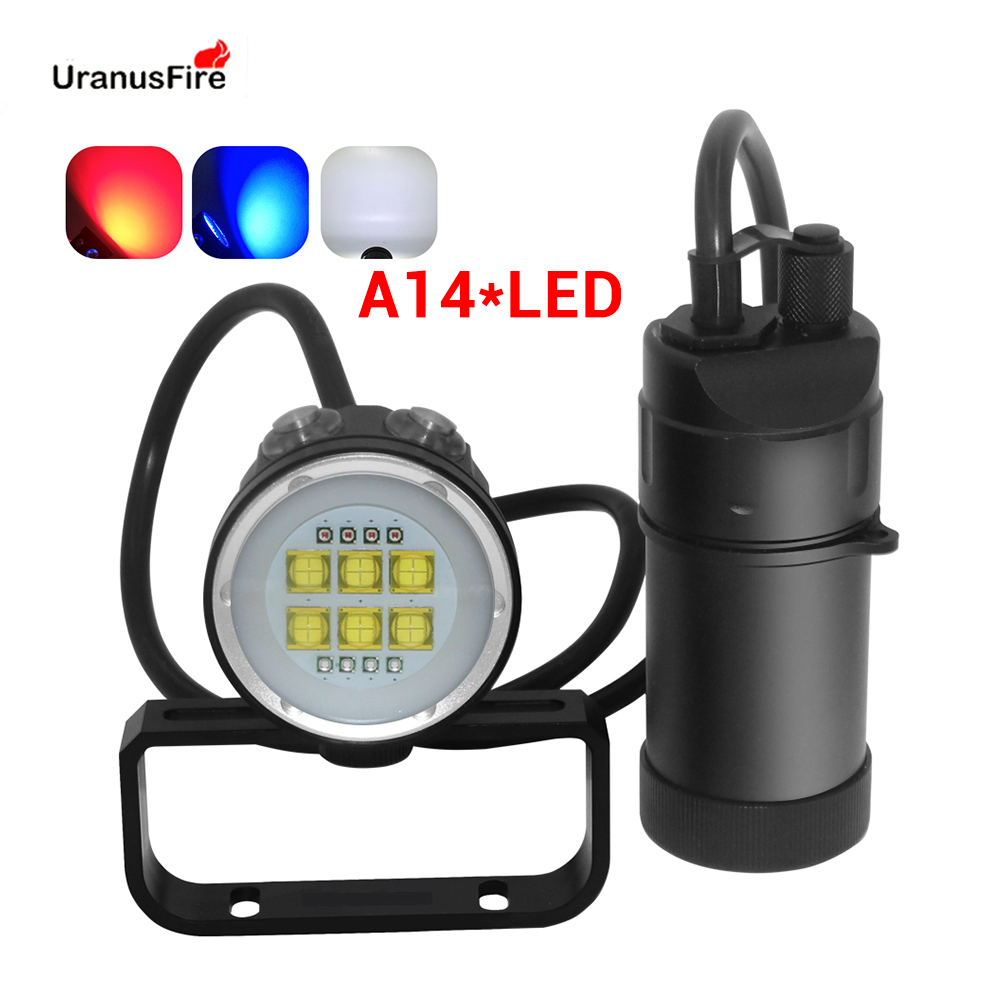 Uranusfire XHP90 LED Split Type Diving Flashlight Torch Waterproof 100M 14 LED Canister Dive Lamp 18650 Underwater Video Light