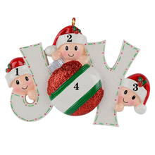Joy Family Members of 3 Personalized Christmas Holiday Ornaments