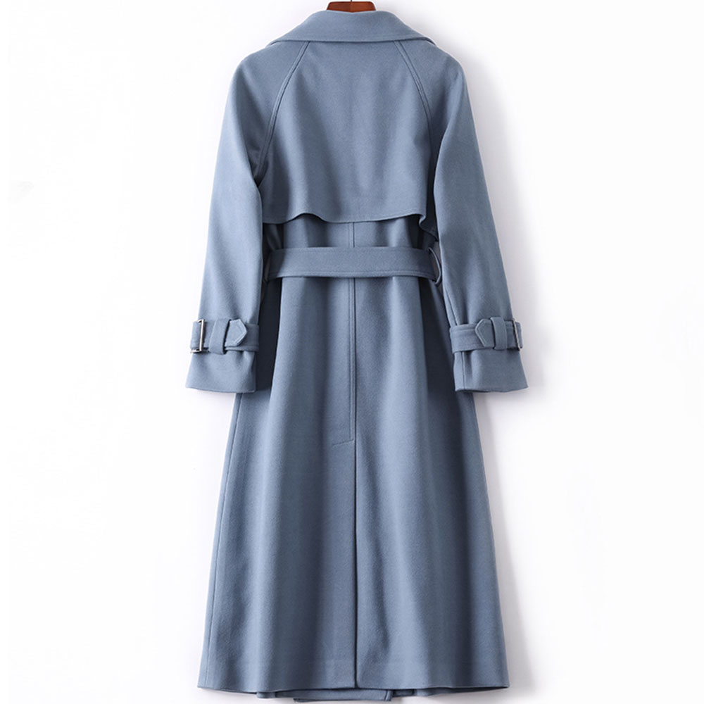 NEW Trend Haze Blue Women Trench Coat Autumn Winter Brand High Quality England OL Long Coats Double-breasted Casual Outwear