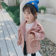 2020 Fashion Spring Autumn Baby Girls Trench Kids Solid Jacket Pink Khaki Children Outerwear Classic Baby Trench 1-6yrs Hot Sale cheap REGULAR COTTON O-Neck Outerwear Coats Full Fits true to size take your normal size Denim Unisex