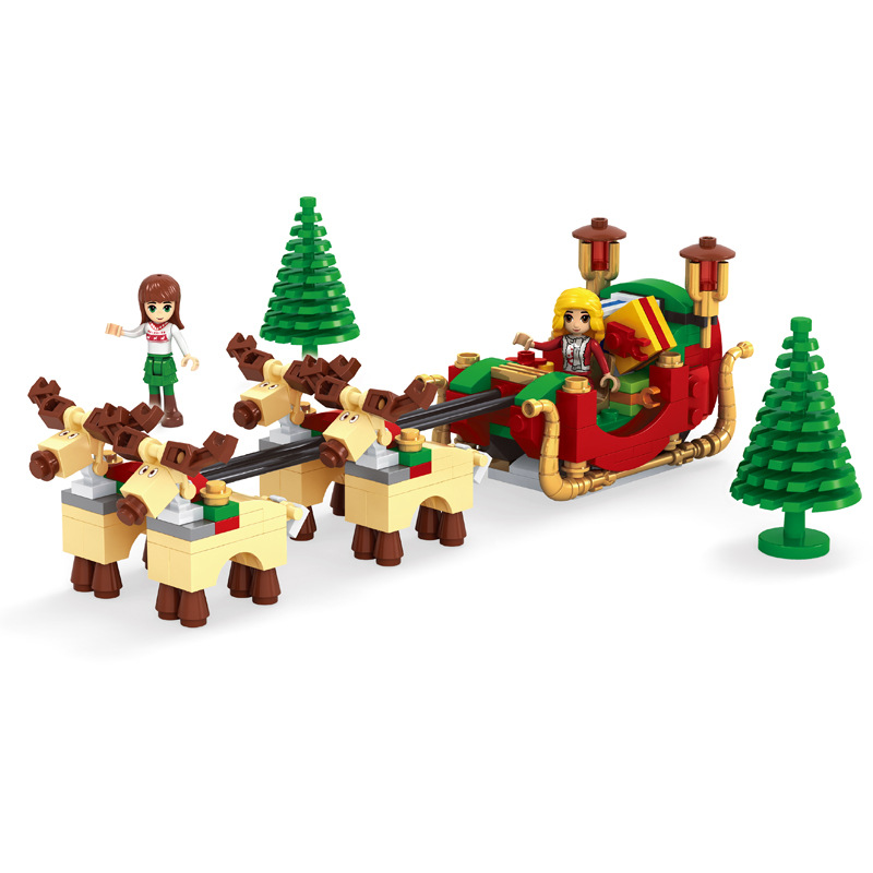 228pcs Girl Christmas Deer Santa Ride Carriage Building Blocks Toy Compatible With 25526