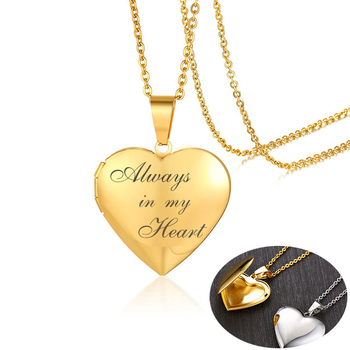 цена на Romantic Heart Locket Pendants for Women Men Can Be Open Photo Frame Glossy Stainless Steel Necklaces Family Love Gifts