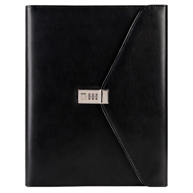 HOT-Black Binder A4 File Folder With Lock Business Manager Password Briefcase File Cabinet Holder Manager Password Briefcase Bag