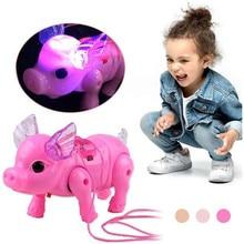 2019 nova cor rosa elétrica andando porco brinquedo com luz musical crianças engraçado eletrônico brinquedo crianças presente de aniversário brinquedos
