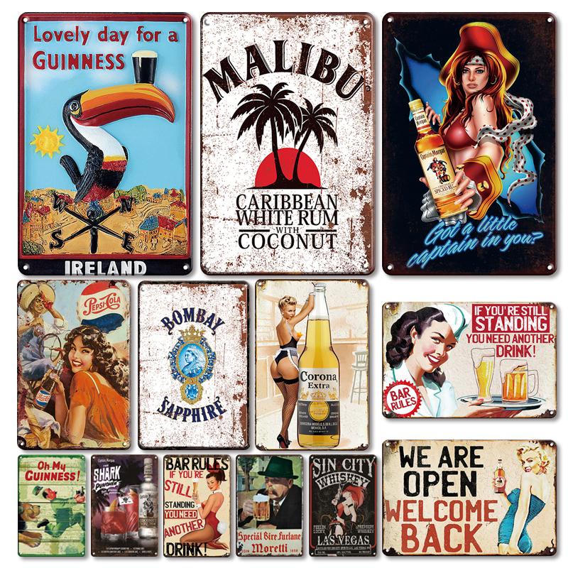 Guinness Beer Tin Poster Sign Vintage Irish Pub Bar Wall Decorative Metal Plate Retro Sexy Pin Up Girl Tin Signs Beer Plaques
