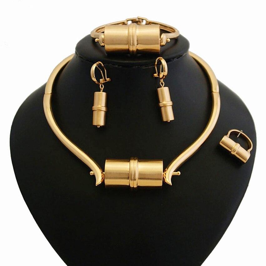 Yulaili Free Shipping Round Design Rose-gold Silver Gold Plating Ladies Dubai Jewelry Set