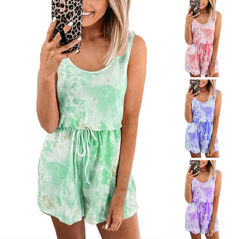 цена на Summer  High Waist Round Neck Tie-dye Casual Vest Top Jumpsuit Printed Clothing Sleeveless Fashion Temperament Jumpsui
