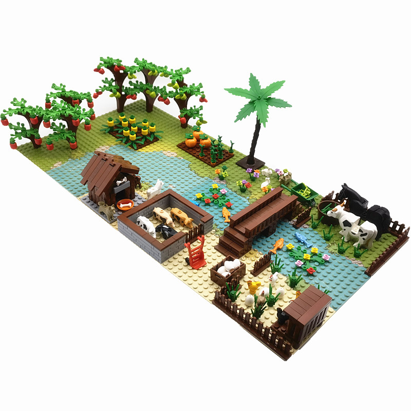 Plants Fruit Tree Farm Animals Building Blocks Bricks Montessori Toys for Children Xmas Birthday Gift MOC Parts Juguetes Bloques