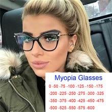Computadora gafas graduadas para miopía damas Anti-Luz Azul ojo de gato gafas óptico transparente espectáculo gafas grados