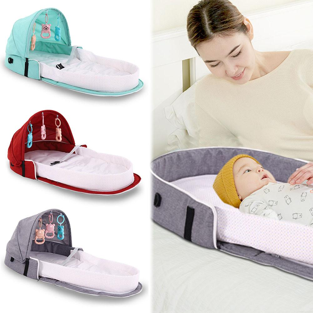 Portable Bionic Baby Crib Safety Isolation Bed Multi-function BB Outdoor Folding Cradle Waterproof Pad Crib With Mosquito Net